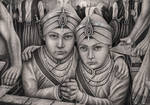 'Zarowar Singh' and 'Fateh Singh' graphite drawing