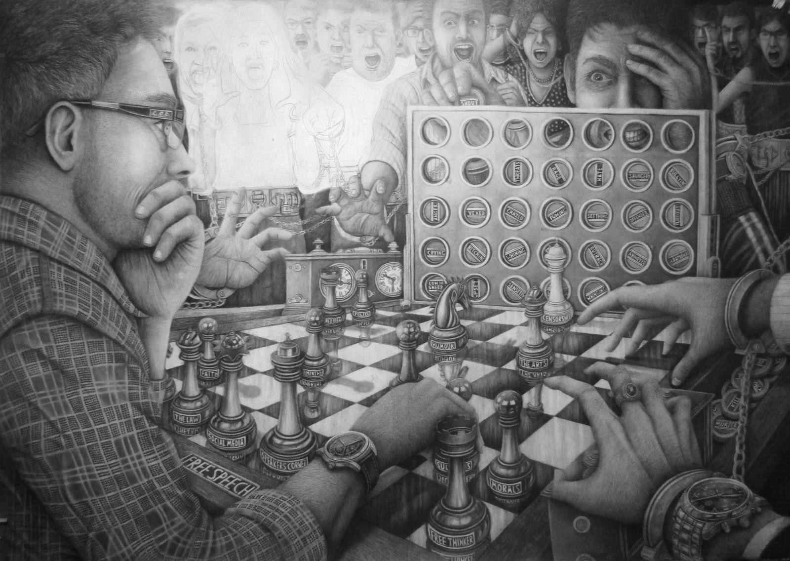 STAGE 3 OF MY A0 ARTWORK TITLED 'I'M PLAYING CHESS
