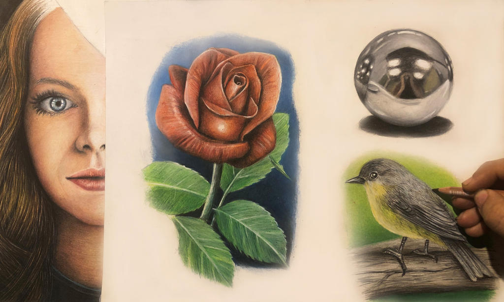 PRACTISING USING COLOUR PENCILS WTH RANDOM OBJECTS