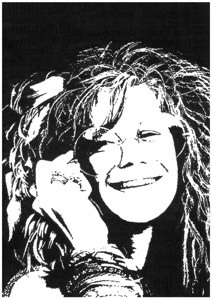 It is a graphic of Magic Janis Joplin Drawing
