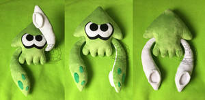 Splatoon Squid Plush- Angry Green by Sunflowmon
