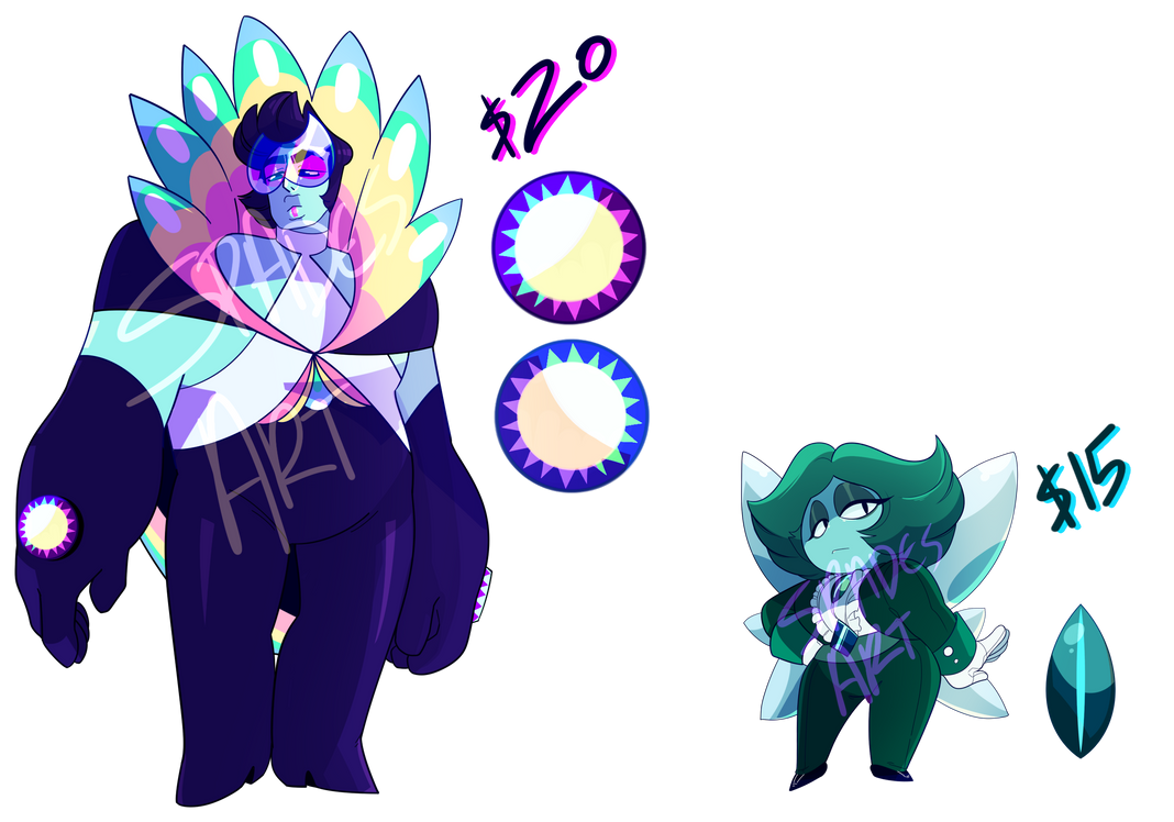 Peacock Topaz and Aquamarine Adopts (CLOSED) by SpadesArts