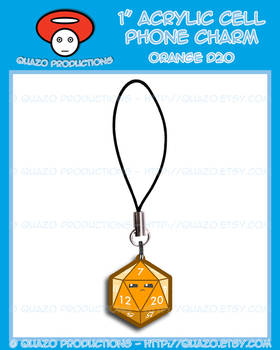 Acrylic Charm - Dice (Orange)