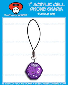 Acrylic Charm - Dice (Purple)