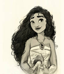 Sketch of this beautiful girl with curly hair!