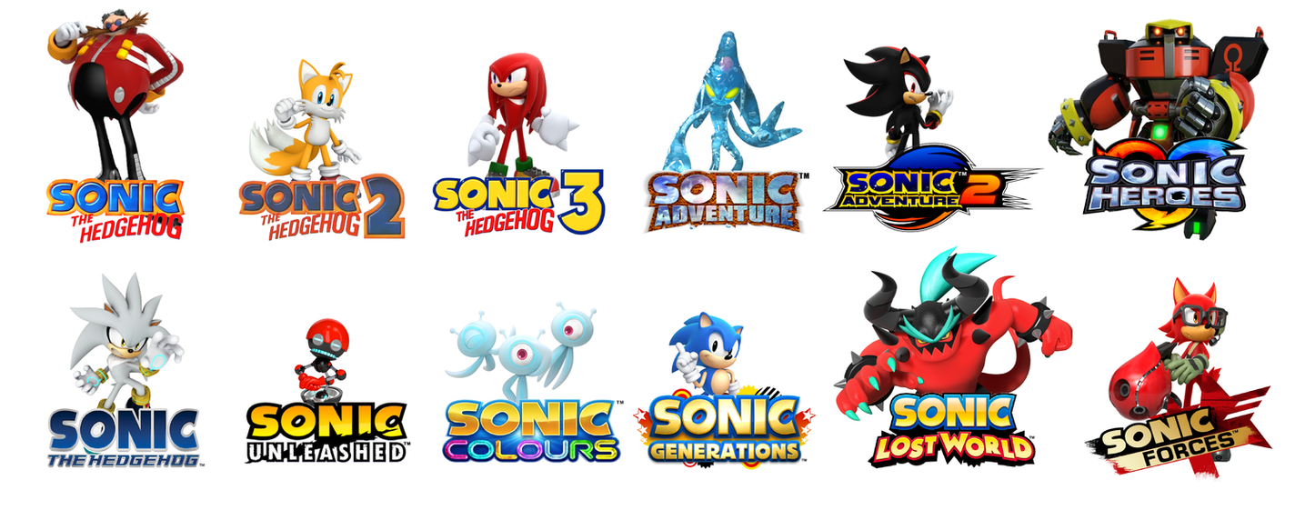 all main sonic games represented by the sonic cast by sebastianlr on