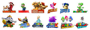 All Main Mario Games Represented by the Mario Cast
