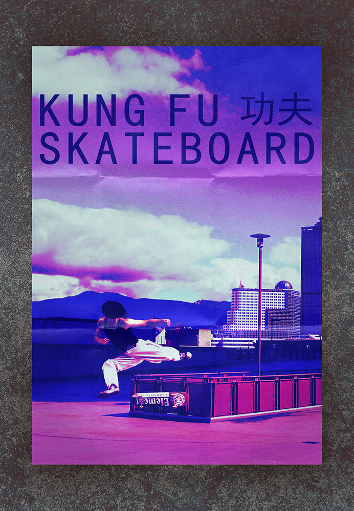 Kung Fu Skateboard by SkeliFish