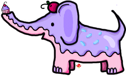 Pink and Purple Cupcake Elephant by Toadstoool