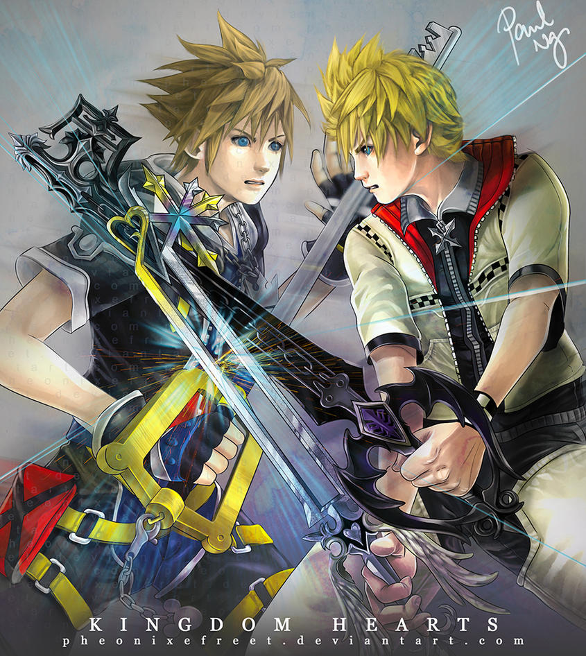 Kingdom Hearts - Sora vs Roxas by pheonixefreet