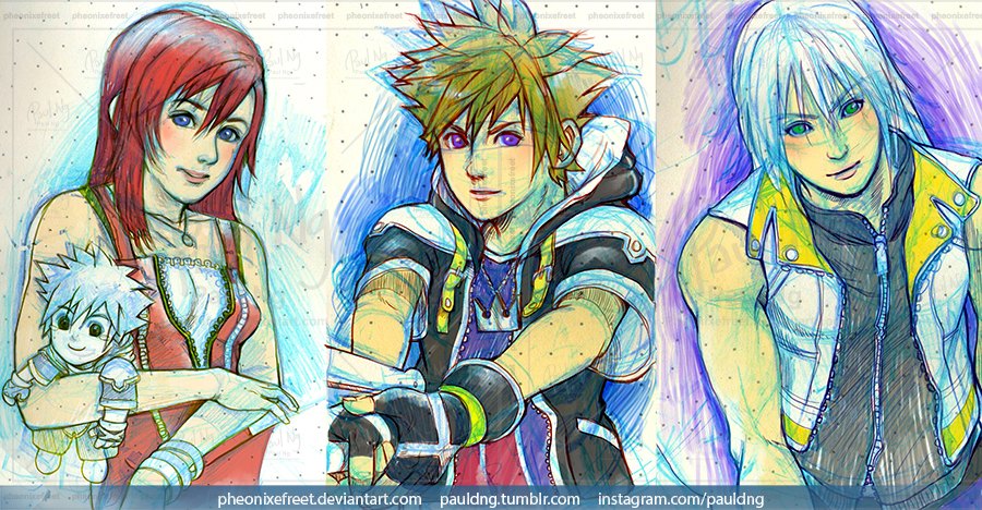 WIP - Kingdom Hearts Kairi, Sora and Riku by pheonixefreet