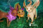 COMM: Eevee, Jolteon, Leafeon