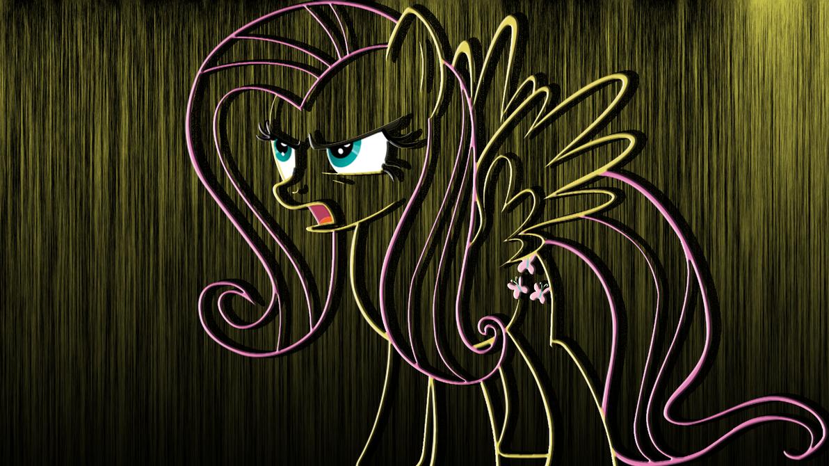 Angry Fluttershy Metallic Wallpaper Hd By RainBowDash89 On