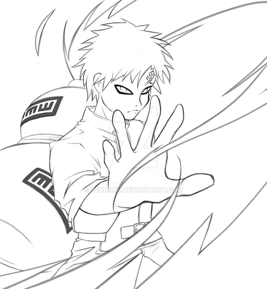 Naruto Shippuden Lineart : Sabaku no gaara naruto shippuden by zendaru on deviantart