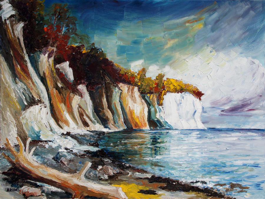 Chalk Cliffs On The Island Ruegen In Fall by BarbaraPommerenke