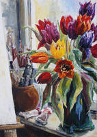 Studio Corner With Tulips by BarbaraPommerenke