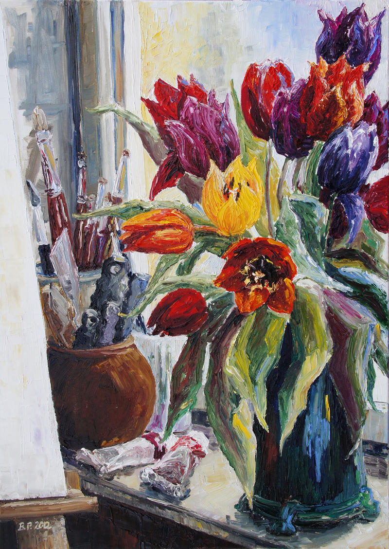 Studio Corner With Tulips by BarbaraPommerenke