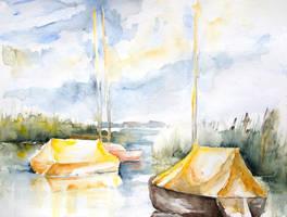 Sailboats Awakening by BarbaraPommerenke