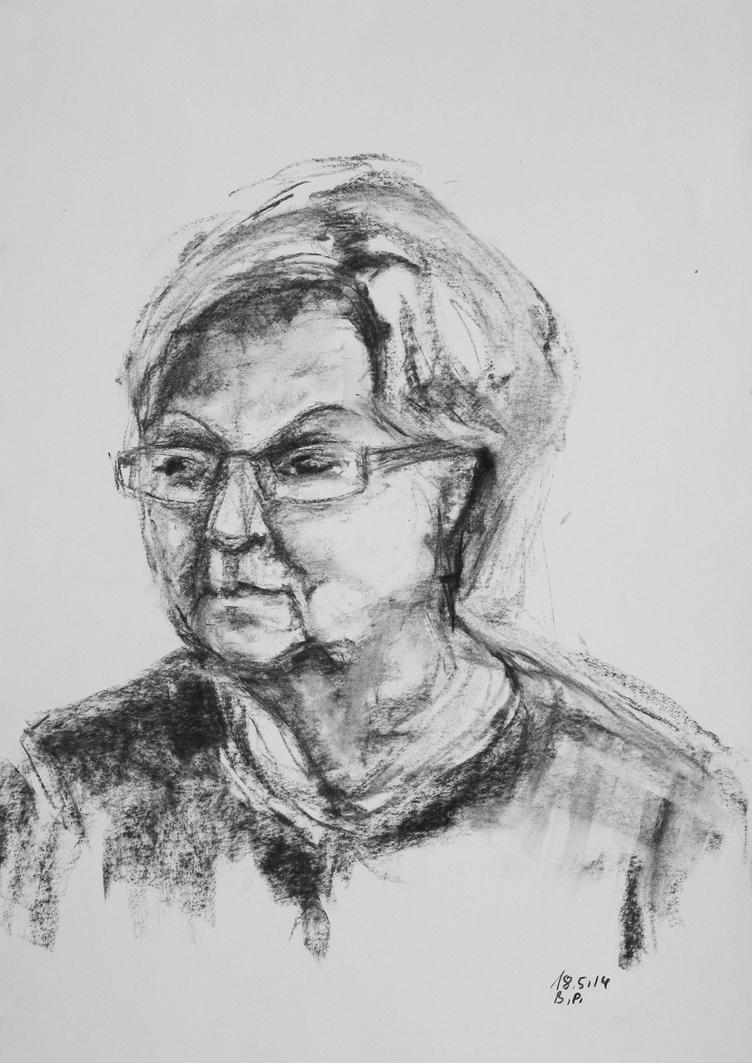Elderly Lady With Glasses by BarbaraPommerenke