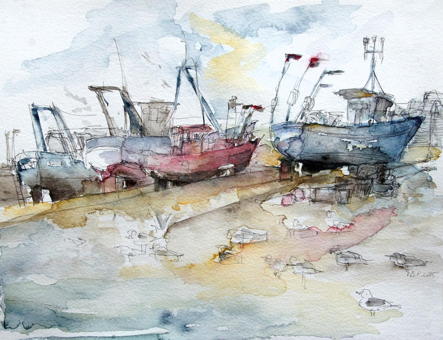 Fishing Boats at Hastings' Beach by BarbaraPommerenke