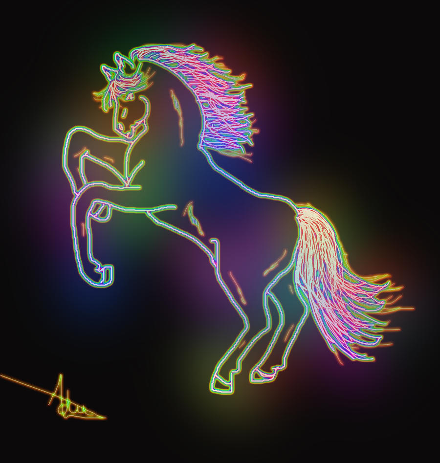 Neon horse by Adutelluma on DeviantArt