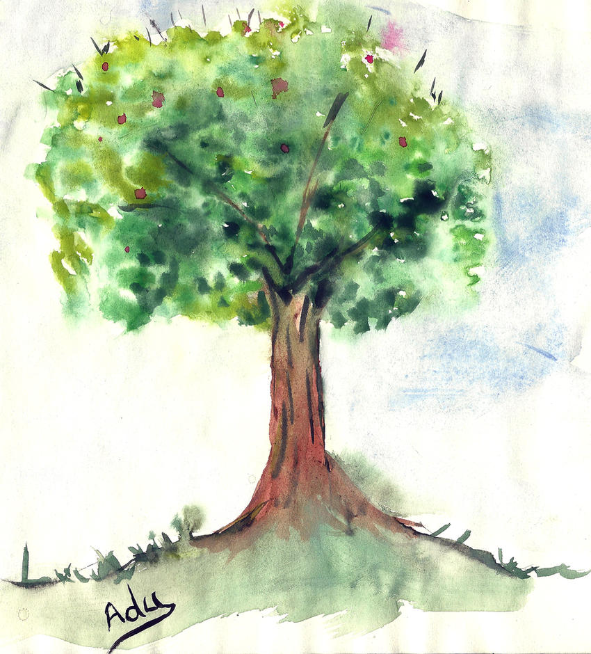 Spring Tree - watercolor by Adutelluma on DeviantArt