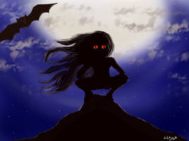 Red eyes girl with bat under a luminous moon