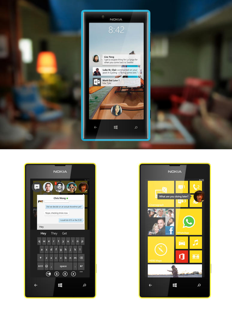 Facebook HOME MockUP for Windows Phone by MetroUI