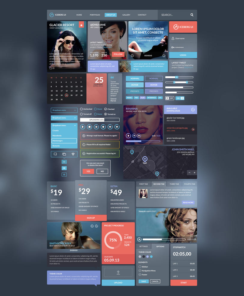 Iceberg UI Kit - The Basics by PixelKitCom