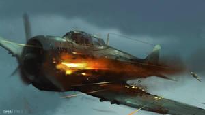 Burning aircraft