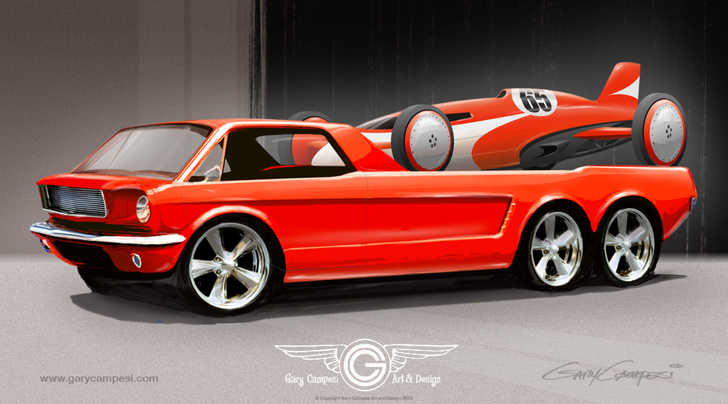 Mustang Hauler And Race Car By Garycampesi On Deviantart