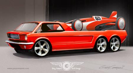 Mustang Hauler and Race Car by GaryCampesi