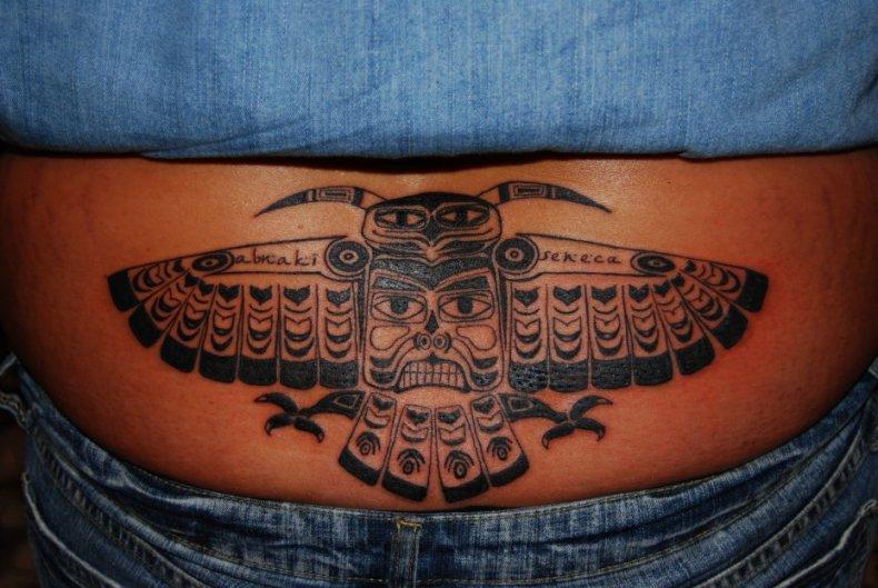 Owl Tiki Totem tattoo by HotWheeler
