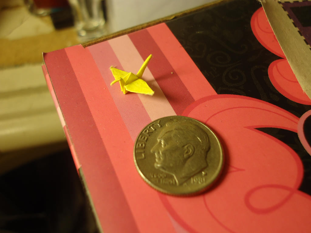 Second Tiniest Crane I've Ever Folded by JenniInoue