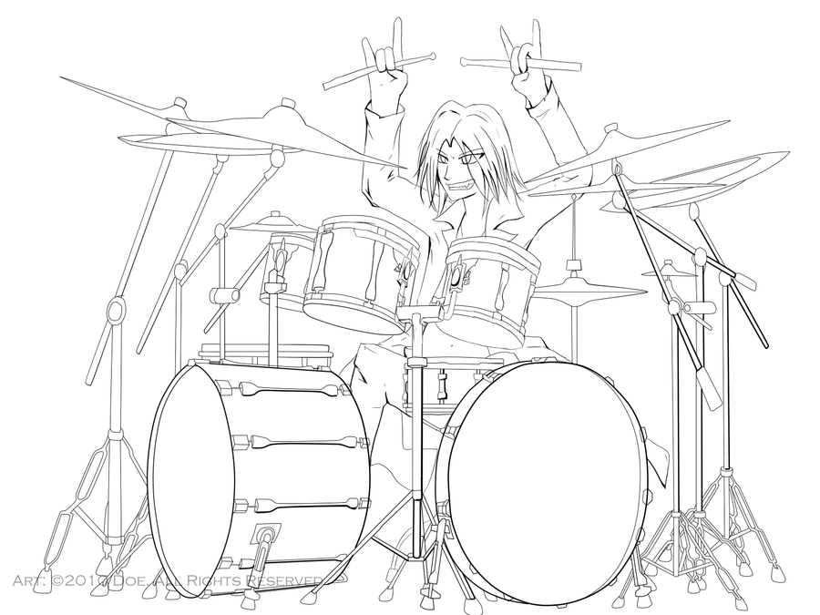 Drummer Lineart By VenomousBlaze