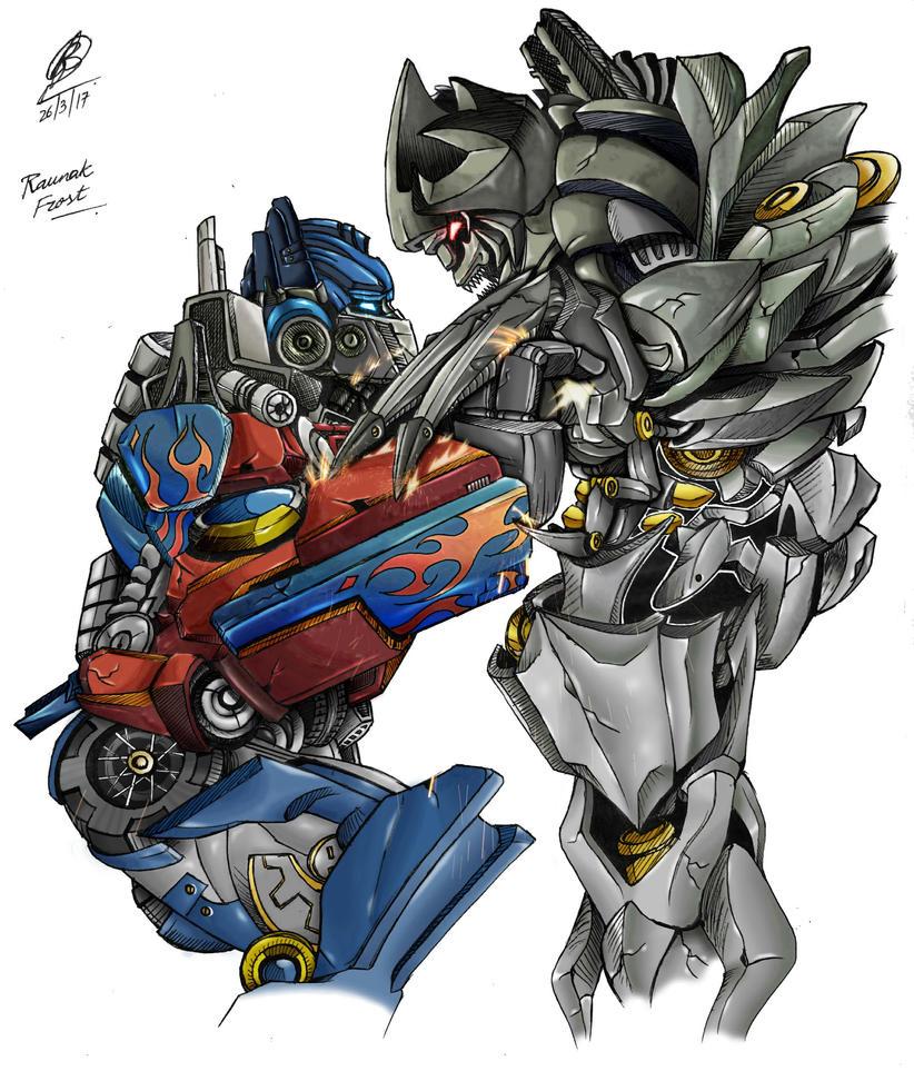 Optimus Prime vs Megatron colour by FrostTheBatman on ...
