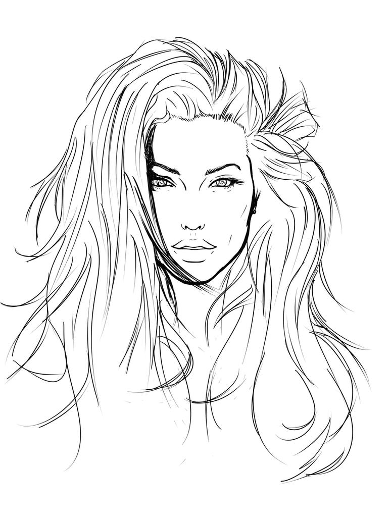 Coloring pages portraits - Angelina Jolie