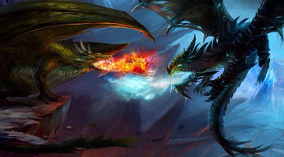 giant giant fire dragon vs ice dragon - photo #27
