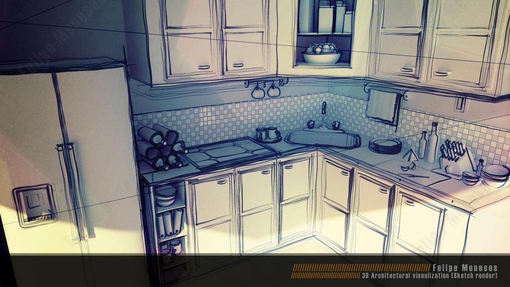 3d interior design sketch by felipe meneses