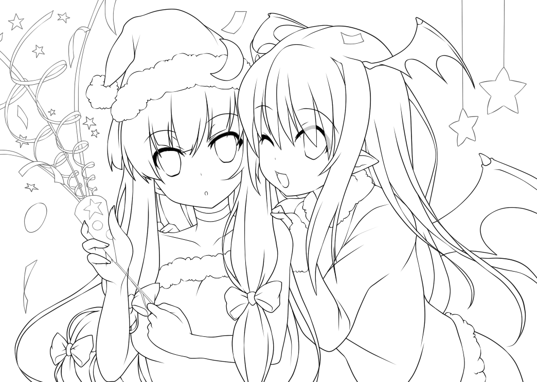 Line Art Xmas : Koakuma patchouli christmas lineart by nypaah on