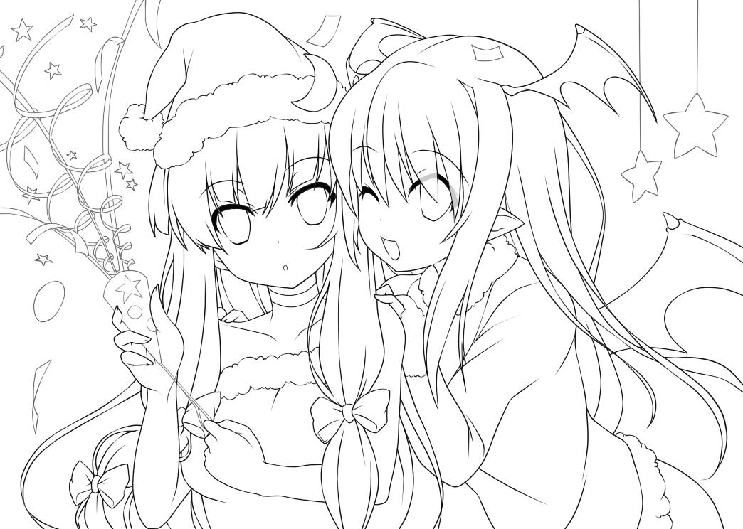 Line Drawing Xmas : Koakuma patchouli christmas lineart by nypaah on