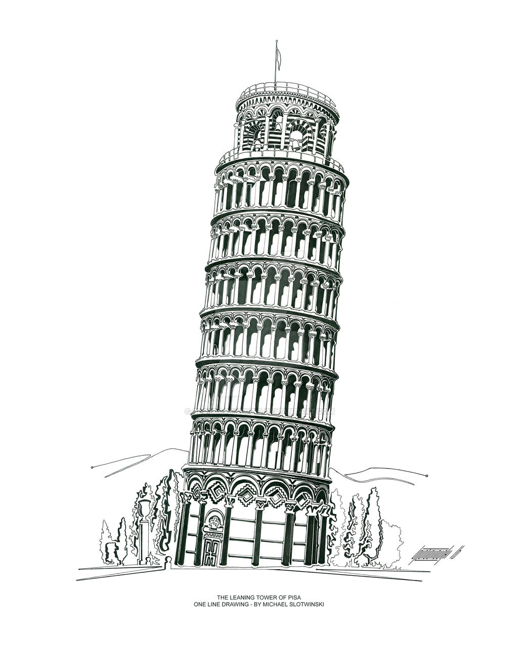 The Leaning Tower of Pisa - One Line Drawing by SlotsArtStudio