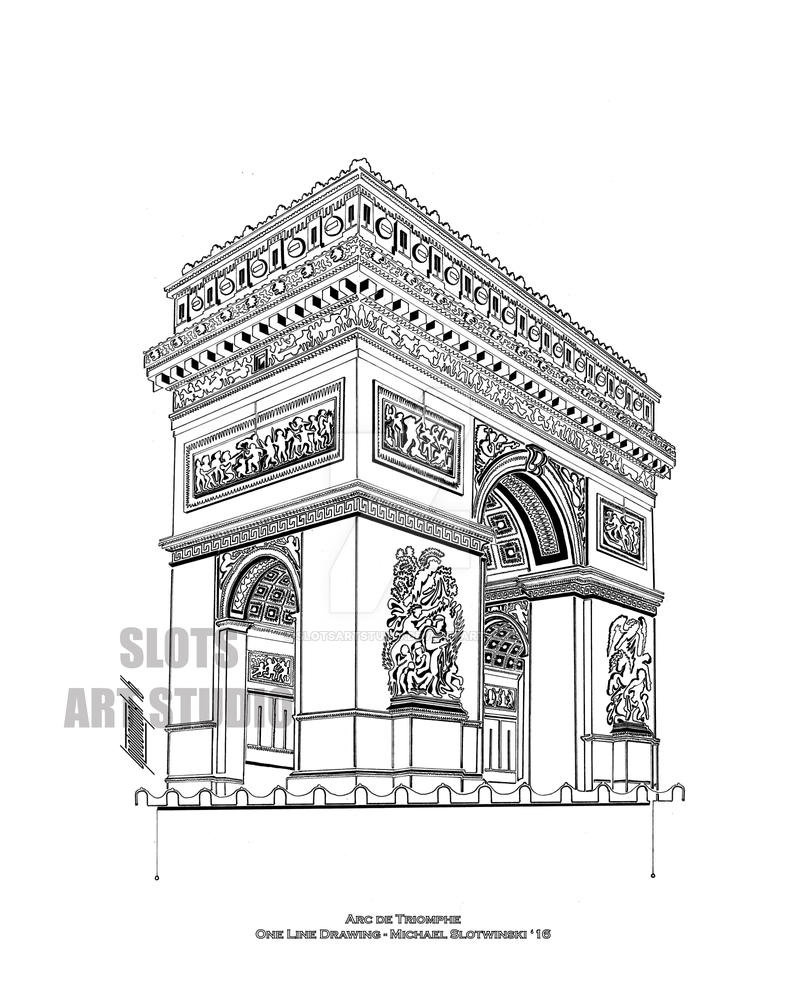 Line Art Studio Serpong : Arc de triomphe by slotsartstudio on deviantart