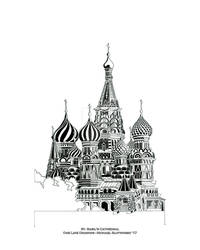 St. Basil's Cathedral - One Line Drawing - 16 x 20