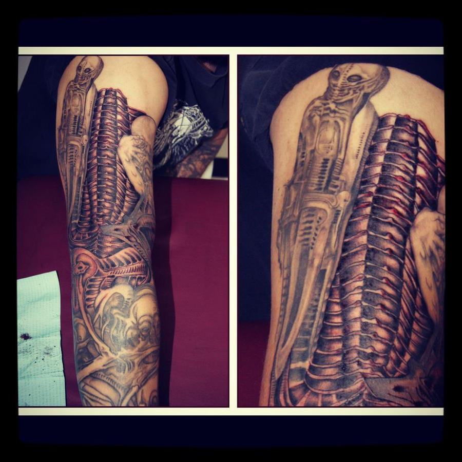 h.r. giger tattoo (continued sleeve) by Redstar10 on ... H.r. Giger Tattoo