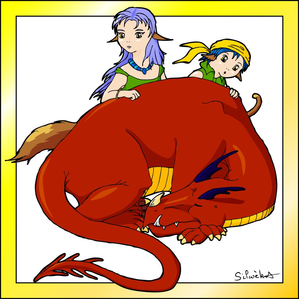 Le dragon et les enfants by silwek