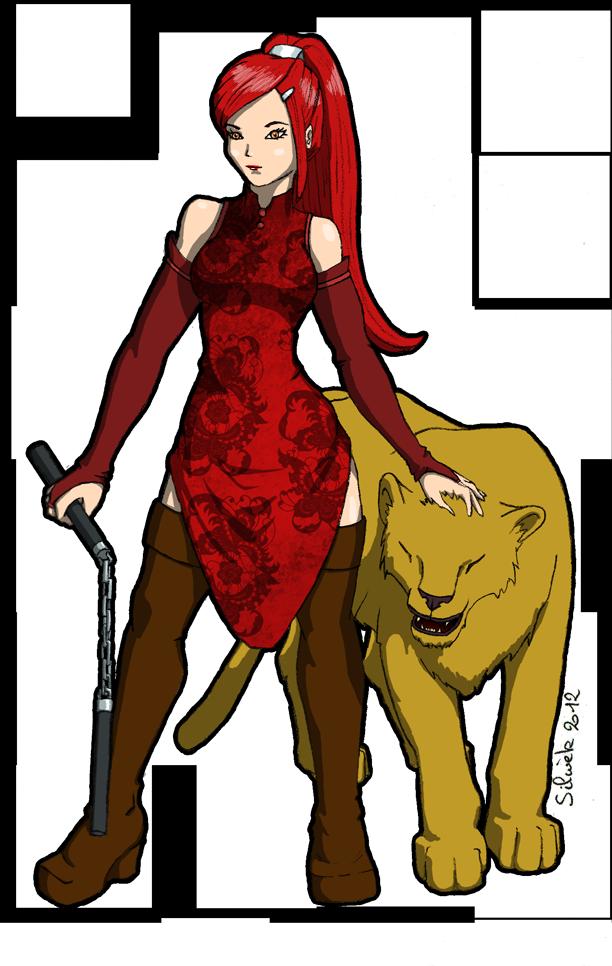 La fille et la lionne