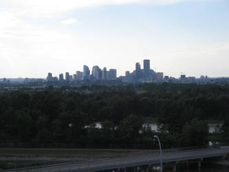 Calgary City skyline from dog walking trail by AmongTheFirst