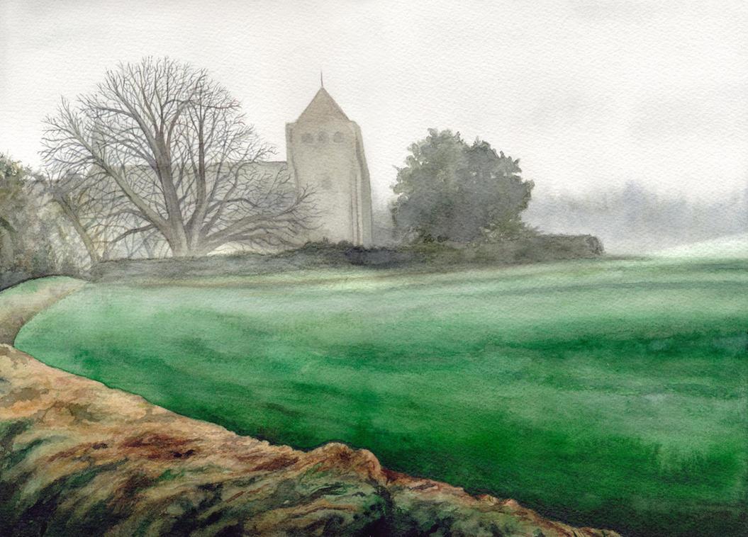 Morning fog over St Mary's Church, Liss by peet