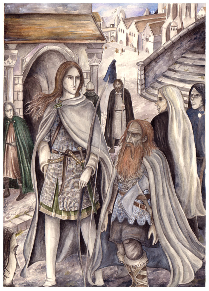 Legolas and Gimli in Minas Tirith by peet